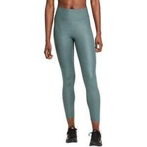 Nike Leggings Teal One Mid Rise Faux Leather Tight